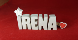 Beton, Steinguss Buchstaben 3D Deko Namen IRENA als Geschenk verpackt mit Stern und Herzklammer!