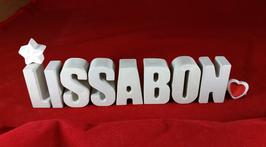 Beton, Steinguss Buchstaben 3D Deko Stern Namen LISSABON als Geschenk verpackt!