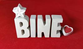 Beton, Steinguss Buchstaben 3D Deko Stern Namen BINE als Geschenk verpackt!