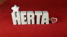 Beton, Steinguss Buchstaben 3D Deko Namen HERTA als Geschenk verpackt mit Stern und Herzklammer!