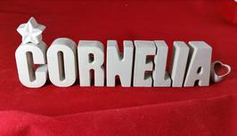 Beton, Steinguss Buchstaben 3D Deko Namen CORNELIA als Geschenk verpackt!