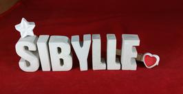 Beton, Steinguss Buchstaben 3D Deko Namen SIBYLLE als Geschenk verpackt mit Stern und Herzklammer!