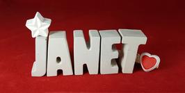 Beton, Steinguss Buchstaben 3D Deko Namen JANET als Geschenk verpackt mit Stern und Herzklammer!