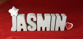Beton, Steinguss Buchstaben 3D Deko Namen JASMIN als Geschenk verpackt mit Stern und Herzklammer!