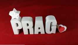 Beton, Steinguss Buchstaben 3D Deko Stern Namen PRAG als Geschenk verpackt!