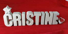 Beton, Steinguss Buchstaben 3D Deko Namen CHRISTINE als Geschenk verpackt!