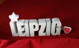 Beton, Steinguss Buchstaben 3D Deko Stern Namen LEIPZIG als Geschenk verpackt!