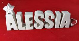 Beton, Steinguss Buchstaben 3D Deko Stern Namen ALESSIA als Geschenk verpackt!