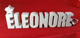Beton, Steinguss Buchstaben 3D Deko Namen ELEONORE als Geschenk verpackt mit Stern und Herzklammer!