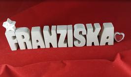 Beton, Steinguss Buchstaben 3D Deko Namen FRANZISKA als Geschenk verpackt mit Stern Und Herzklammer!