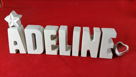 Beton, Steinguss Buchstaben 3D Deko Stern Namen ADELINE als Geschenk verpackt!