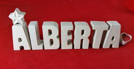 Beton, Steinguss Buchstaben 3D Deko Stern Namen ALBERTA als Geschenk verpackt!