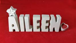 Beton, Steinguss Buchstaben 3D Deko Stern Namen AILEEN als Geschenk verpackt!