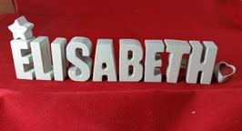 Beton, Steinguss Buchstaben 3D Deko Namen ELISABETH als Geschenk verpackt mit Stern und Herzklammer!