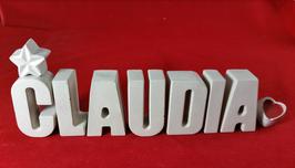 Beton, Steinguss Buchstaben 3D Deko Namen CLAUDIA als Geschenk verpackt!