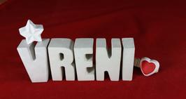 Beton, Steinguss Buchstaben 3D Deko Namen VRENI als Geschenk verpackt mit Stern und Herzklammer!