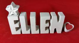 Beton, Steinguss Buchstaben 3D Deko Namen ELLEN als Geschenk verpackt mit Stern und Herzklammer!