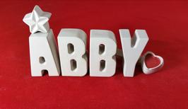 Beton, Steinguss Buchstaben 3D Deko Stern Namen ABBY als Geschenk verpackt!