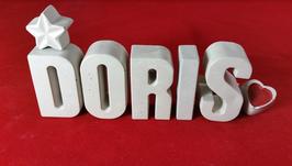 Beton, Steinguss Buchstaben 3D Deko Namen DORIS als Geschenk verpackt mit Stern und Herzklammer!