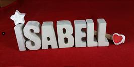 Beton, Steinguss Buchstaben 3D Deko Namen ISABELL als Geschenk verpackt mit Stern und Herzklammer!
