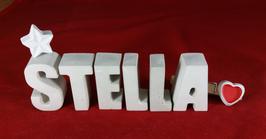 Beton, Steinguss Buchstaben 3D Deko Namen STELLA als Geschenk verpackt mit Stern und Herzklammer!