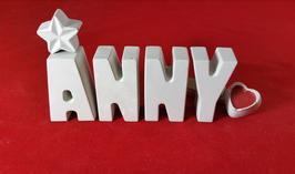 Beton, Steinguss Buchstaben 3D Deko Namen ANNY als Geschenk verpackt!