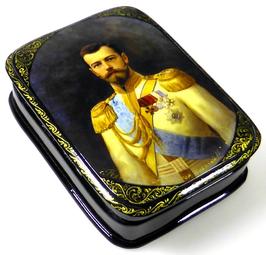Imperator Nikolai II - Russische Schatulle Lackdosen Fedoskino, Artikel HER14