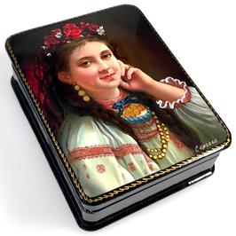 """""""Ukrainisches Mädchen"""", Russische Schatulle Lackdosen Fedoskino, Artikel WP09"""