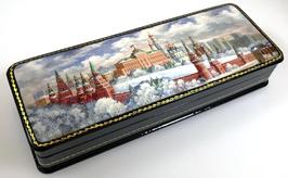 Moskauer Kreml im Winter - Russische Schatulle Lackdose Fedoskino, Artikel MOS09