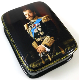 Imperator Nikolai II - Russische Schatulle Lackdosen Fedoskino, Artikel HER01