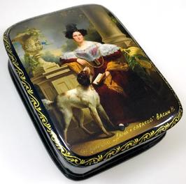 Dame mit Hund - Russische Schatulle Lackdosen Fedoskino, Artikel WP16