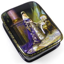 Imperatorin Maria Fjodorovna- Russische Schatulle Lackdosen Fedoskino, Artikel HER09