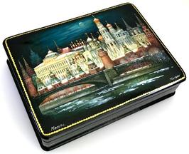 Moskauer Kreml bei Nacht - Russische Schatulle Lackdose Fedoskino, Artikel MOS03