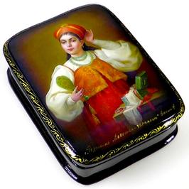 Junge Frau mit Spiegel - Russische Schatulle Lackdosen Fedoskino, Artikel WP21