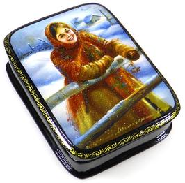 Mädchen mit Vogelbeeren - Russische Schatulle Lackdose, Fedoskino, Artikel KIND01