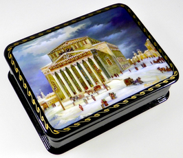 Altes Moskau - Bolshoi Theater - Russische Schatulle Lackdose Fedoskino, Artikel MOS04