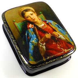 Junge Frau mit Zopf - Russische Schatulle Lackdosen Fedoskino, Artikel WP23