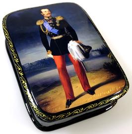 Imperator Alexander der II. - Russische Schatulle Lackdosen Fedoskino, Artikel HER03