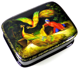 Feuervogel - Russische Schatulle Lackdose Fedoskino, Artikel FEU06