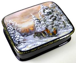 Winter - Russische Schatulle Lackdose Fedoskino, Artikel JZ11