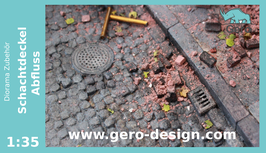 "GERO KERAMIK "" Schachtdeckel / Abfluss "" 1 :35   -  10 Teilig  - outflows"