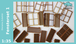 "GERO Lasercut ""Fensterset 1"" 1:35 - 8 Fenster + 16 Fensterläden"