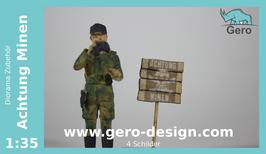 """GERO Lasercut """"Achtung Minen"""" 1:35 - 4 Schilder - 20 teilig"""