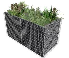 Gabione Pflanzenkorb Stahl 180 x 90 x 100 cm Silber oder 180 x 90 x 50 cm