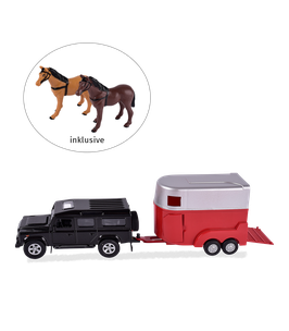 Auto Land Rover mit Pferdeanhänger und 2 Pferde