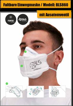 Einweg Atemschutzmaske BLS860 (mit Ausatemventil)
