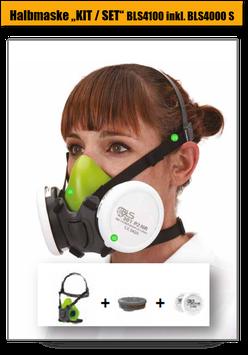 """Halbmasken / Atemschutzmaske / KIT """"4100""""mit Halbmaske BLS4000 S (Größe M/L)"""