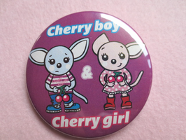 Cherry boy & girl 56㎜カンバッジ