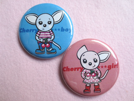Cherry boy & girl 44mmカンバッジ
