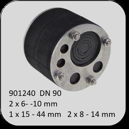 Universal-Mehrfach Dichteinsatz, geschlossene Ausführung mit perforierten Einschnitten  gegen nicht drückendes Wasser mit 30 mm Dichtbreite